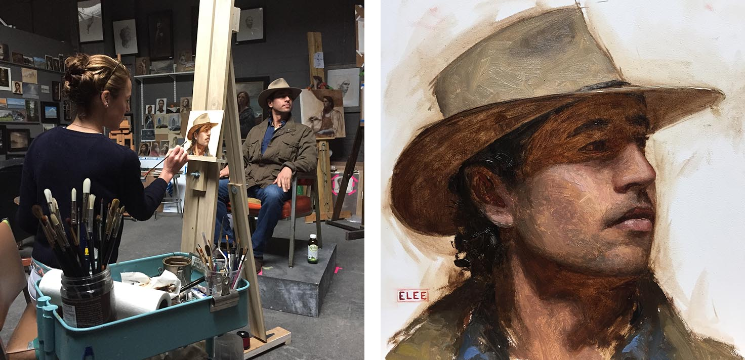 Josh Bernstein sits for his portrait to be painted at Emilie Lee's studio in New York City